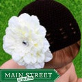 Headbandz Crocheted Baby and Toddler Brown/ Cream Kufi Hat with Flower