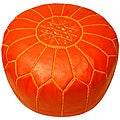 Leather Coral Pouf Ottoman (Morocco)