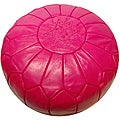 Leather Fuchsia Pouf Ottoman (Morocco)