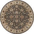 Hand-tufted Coliseum Gray Traditional Border Wool Rug (9'9 Round)