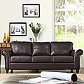 ETHAN HOME Petrie Dark Brown Faux Leather Rolled Arm Sofa