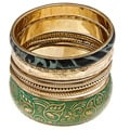 Set of 7 Brass Green Tropic Bloom Bangles (India)