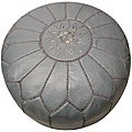 Leather Grey Pouf Ottoman (Morocco)