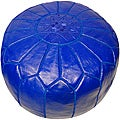 Leather Royal Blue Pouf Ottoman (Morocco)