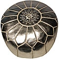 Leather Silver Pouf Ottoman (Morocco)