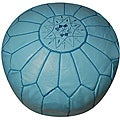 Leather Sky Blue Pouf Ottoman (Morocco)