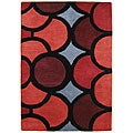 Hand-tufted Metro Circles Red Wool Rug (5' x 8')