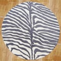 Alliyah Handmade Safari Grey New Zealand Blend Wool Rug (6' Round)