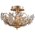 Crystal Abbey 3-light Gold Semi-flush Light