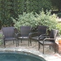 Christopher Knight Home Outdoor PE Wicker Stackable Arm Club Chairs (Set of 4)