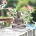 Volcanic Ash Buddha Lotus Antique Statue (Indonesia)
