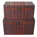 Original Hawaii Wood Trunk with Decorative Wicker (Set of 2)