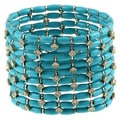 Morgan Ashleigh Goldplated Brass Adjustable Fit Turquoise Colored Stretch Bracelet
