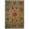 Nepalese Hand-knotted Green Poppies Wool Rug (2' x 3')