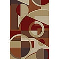 Multi Collection Red and Ivory Area Rug (7&#39;6 x 9&#39;10)
