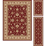 "Multi Collection Set of Three Burgundy Oriental Area Rugs (1' 8"" x 2' 8"", 1'8"" x 5', 5' x 7')"