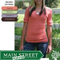 Green Brand Women's Eco-friendly Ribbed Sleeved V-neck T-shirt