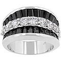 Kate Bissett Silvertone Created Onyx and Cubic Zirconia Fashion Ring