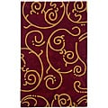 Hand-tufted Archer Burgundy Wool Rug (4' x 6')
