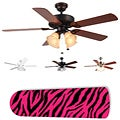 New Image Concepts 4-light Ceiling Fan with Pink Zebra Blades