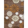 Handmade Sabrina Dark Chocolate Floral Wool Rug (8&#39; x 10&#39;)