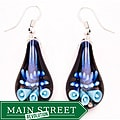 Bleek2Sheek Murano-inspired Glass Blue and Black Teardrop Earrings