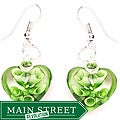 Murano-inspired Glass Green and Clear Heart Earrings
