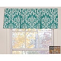 Turquoise Damask Cotton Pleated Window Valance