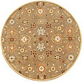 Hand-tufted Pleminius Brown Oriental Wool Rug (6' Round)