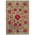 Nepalese Hand-knotted Beige Poppies Wool Rug (2'6 x 10')