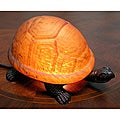 Warehouse of Tiffany Amber Turtle Accent Lamps (Set of 2)