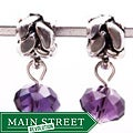 Silvertone Purple Crystal Dangle Charm Beads (Set of 2)