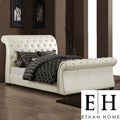 ETHAN HOME Castela Soft White Faux Leather Queen Sleigh Bed