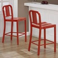 Red Metal Counter Stools (Set of 2)