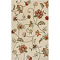 Hand-tufted Cream Floral Rug (2' x 3')
