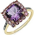 Malaika 10k Yellow Gold Amethyst, Pink Tourmaline and Diamond Accent Ring