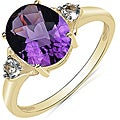 Malaika 10k White Gold Amethyst and White Topaz Ring