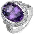 Malaika Sterling Silver Amethyst and White Topaz Ring
