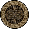 Power-loomed Kerman Black Round Rug (7'10 x 7'10)