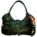 Vecceli Italy Alligator Embossed Black Handbag Designed by Ronella Lucci