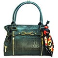 Vecceli Italy Alligator Embossed Black Handbag