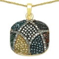 Malaika 14k Gold over Silver 1 1/10ct TDW Multi-colored Diamond Necklace (I-J, I2-I3)