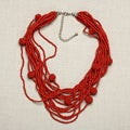 Glass Red Balls of Fire Multi-strand Beaded Necklace (India)