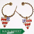 Detti Originals Goldtone Heart Flag Charm Hoop Earrings