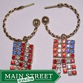 Detti Originals Goldtone Brass American Flag Crystal Hoop Earrings