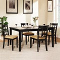 Wilma Black Window Back Cushioned 5-piece Dining Set
