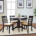 Wilma Black Window Back Round Pedestal 5-piece Dining Set