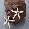 Natural Starfish, Shell, Red Coral and Turquoise Earrings (Thailand)