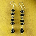 Sterling Silver 'Distinction' Onyx Drop Earrings (India)