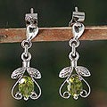 Sterling Silver 'Indian Promise' Peridot Dangle Earrings (India)